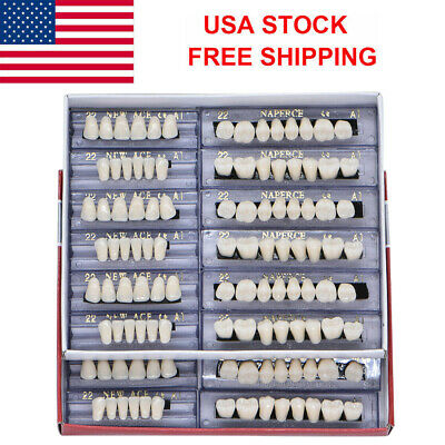 USA 168Pc Dental Denture 22# A1 Acrylic Resin Full Set Teeth Upper Lower Shade