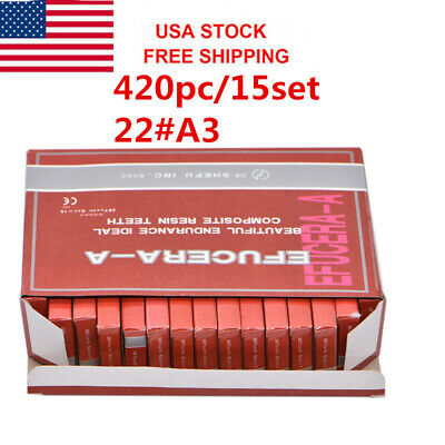 USA 420Pc Dental Denture Acrylic Resin 22#A3 Shade Full Set Teeth Upper Lower