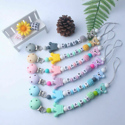 Dummy Clip Holder Baby Pacifier Clips Teething Silicone Soother Beads Chains UK/