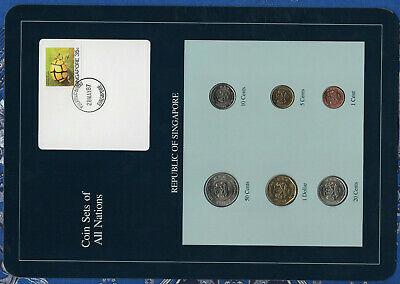 Coin Sets of All Nations Singapore w/card UNC 1986-1988 $1,5 cents 1988