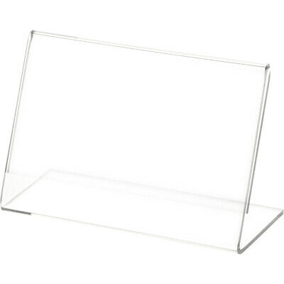"""Plymor Clear Acrylic Sign Display / Literature Holder (Angled), 5"""" W x 3"""" H"""