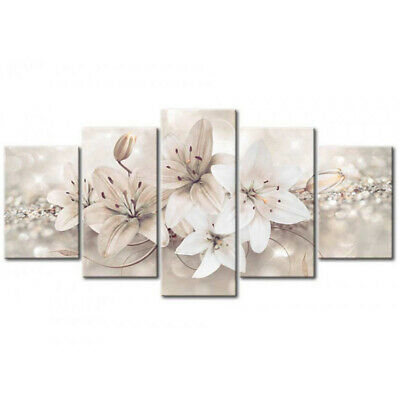 5 Panels Unframed Flower Print Picture Canvas Wall Home Office Art Decoration UK
