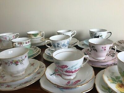 Lovely selection of Vintage China Trios -  Teacup, Saucer, Tea Plate - Assorted