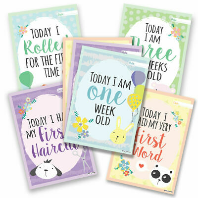 Pack of 26 Baby Milestone Cards ~ Unisex Boy Girl Memorable 1st Year Moments ...