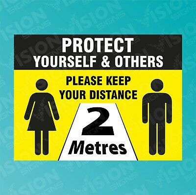 Social Distancing Please Stand 2M Metres Apart Sticker Plastic Metal Sizes