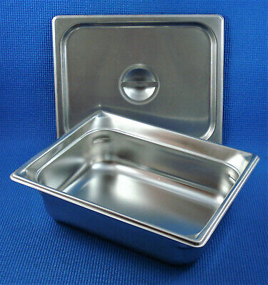 "Carlisle DuraPan Stainless Food Table Hotel Pan 1/2 Size 4"" Deep w/ Cover/Lid"