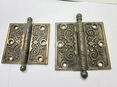 2 Victorian Decorative Cast Iron Door Hinges Salvaged 3 1/2 x 3 1/2 & 4 x 4