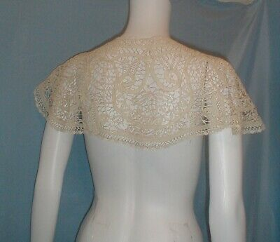 Antique Lace Collar Victorian Ivory Tape Lace