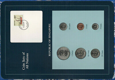 Coin Sets of All Nations Singapore w/card 1981-1984 UNC 5 cents 1983 steel