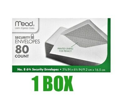 Mead # 8 Security Envelopes, 80-ct. Boxes/3-5/8 in x 6-1/2 in /9.2 cm x 16.5 cm.