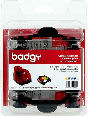 Badgy Consumable Pack Incl Clr Ribbon 100 Cards 30Mil 0.76Mm