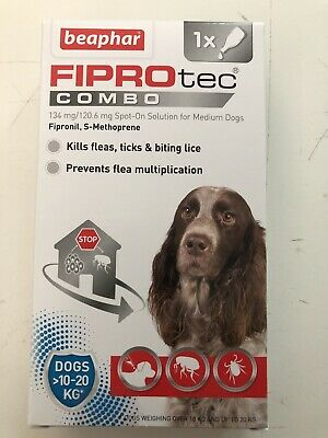 Beaphar Fiprotec Combo Spot-On Flea Treatment for Dogs Medium 1 Pipette.
