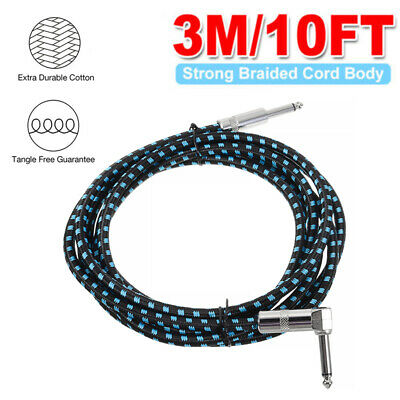 3m 10ft Braided Cotton Tweed Guitar Cable Lead Electric/Bass/Acoustic to Amp UK