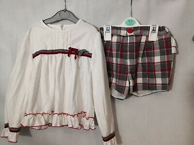 2 Piece Spanish Girls Long Sleeve Tshirt And Shorts Tartan Outfit 5-6 Years