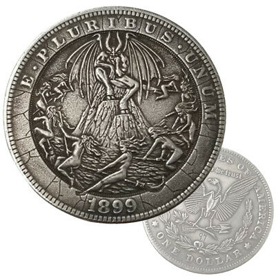 Lucifer Coin Witches Devil Satan Occult Black Magic Pattern Hobo Dollar Coin UK