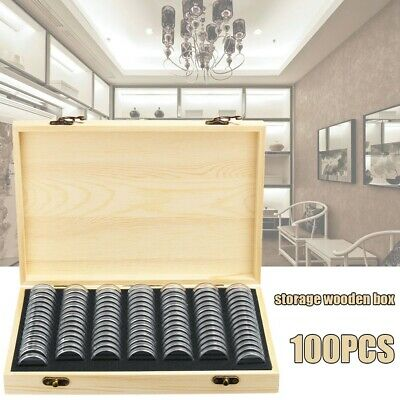 Wooden Coin Display Case Holder Storage Collection Box With 100 Capsules Gift UK
