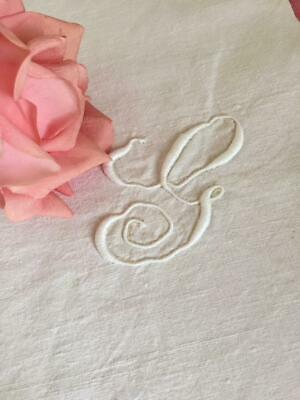 Lovely Antique French Linen Metis Embroidery Monogram 'G' Monogram Only