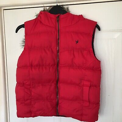 YD Girls Red Sleeveless Hooded Gilet / Bodywarmer  Size 11-12 Years
