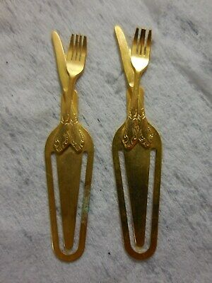 Pair Gold tone Metal FORK KNIFE Chefs Cooks Bookmarker Paper Clip