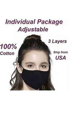 (Box Of 10) Black Cotton Face Mask Unisex Masks Washable USA Outdoor Soft