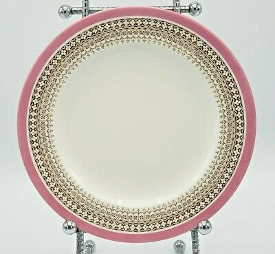 Antique Royal Worcester Vitreous Plate, Gold Pink Border, England, 8""
