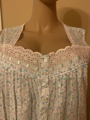 Eileen west nightgown Large 100% Cotton Lawn long Stunning Aqua / Purple / Whit