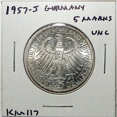 1957-J Germany 5 Mark Silver Coin Uncirculated KM117 Rare!