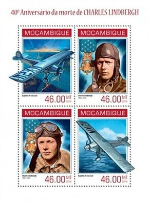 Mozambique - 2014 Charles Lindbergh Anniversary-4 Stamp Sheet-13A-1440