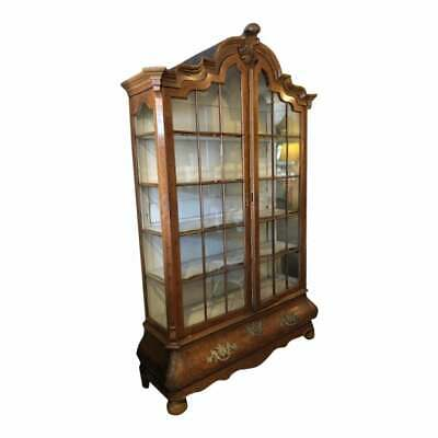 Large Antique Dutch Marquetry Bookcase , Display Cabinet Show Case