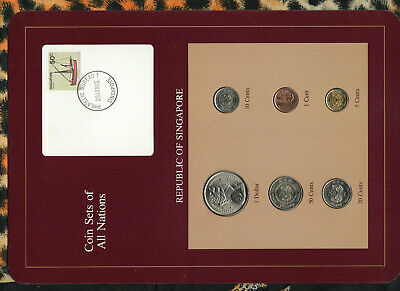 Coin Sets of All Nations Singapore 1982-1986 UNC 10,20 cents 1986 $1 1982