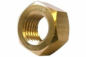 Metric Hexagonal Hex Full Nuts Brass Self Colour M10 10mm Pack of 5 Nuts