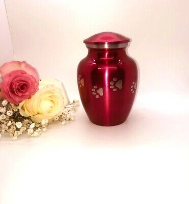 Velvet Purple Pet Cremation Urn, Purple Dog & Cat Urn for Ashes Dog Memorial Urn