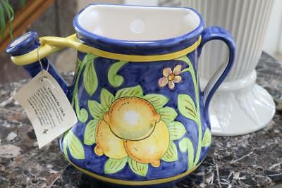 Ceramiche Ima Lemons Hanging Wall Planter Watering Can -Italy- Blue/Green/Yellow