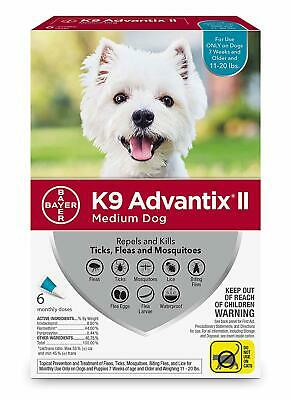 K9 Advantix II for Medium Dogs 11-20 lbs - 6 Pack - NEW