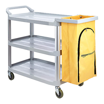AmazonCommercial Cleaning Cart with Zipper Bag and 3 Shelves