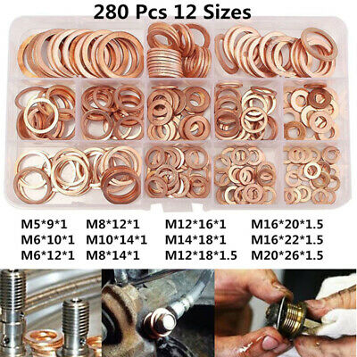 280x 12 Size Assorted Solid Crush Copper Washer Sump Plug Banjo Bolt Tap Box