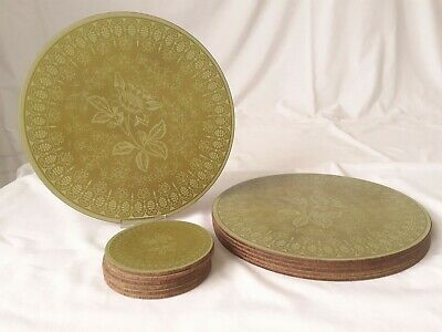 Set of 6 Vintage Retro Avocado Green Patterned Place Mats & 6 Matching Coasters