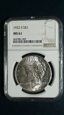 1922 S Peace Silver Dollar NGC MS61 $1 Coin Auction Starts At 99 Cents!