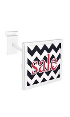 """3 Wire Grid Sign Holder White Holds 7"""" Wide x 5 ½"""" High Signs Metal Grid Wall"""
