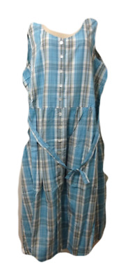 Vermont Country Store Light Blue Plaid Madras Jumper L and 2X