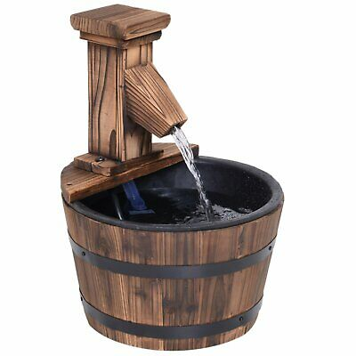 Fir Wood Barrel Pump Fountain W/ Flower Planter Garden Outdoor Brown New UK