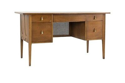 Broyhill Brasilia Desk Mid Century Modern Executive Size With Chair Glass Top