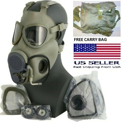 Size 3 Large XL Full Face M10 NBC Gas Mask Respirator Military w/ Filters + Bag