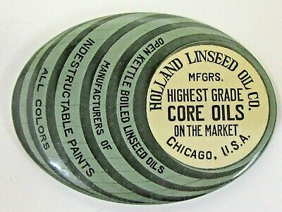 c.1910 HOLLAND LINSEED OIL Paint Chicago barrel shaped celluloid pocket mirror ^