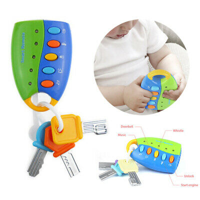 Pretend Play Smart Remote Control Musical Car Key Toy Baby Keychain Educational