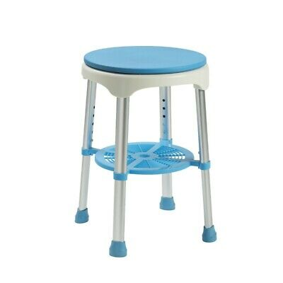 Shower Stool - Cushioned Swivel Seat, Height Adjustable