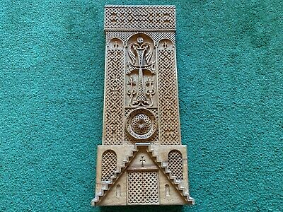 Hand Carved Wood Religious Cross Ornate Sculpture Carving Display