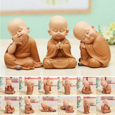 Cute Chinese Resin Hand Carved Buddha Statue Monk Sculpture Home Car Decor Gift