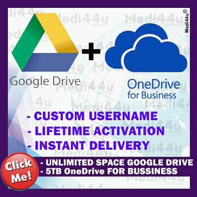 GOOGLE DRIVE UNLIMITED STORAGE + OneDrive for Business 5TB (COMBO)