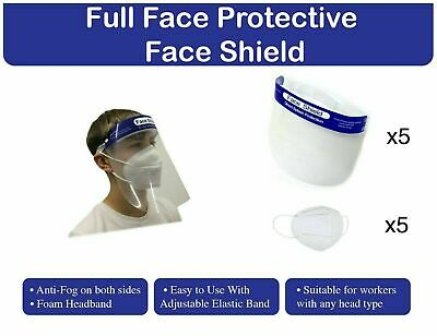 Protective Face Shield With KN95 Face Mask, Bundle Package x5